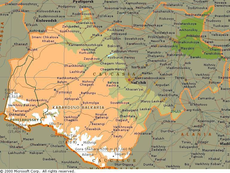 REPUBLIC OF KABARDINOBALKARIA - Nalchik map